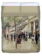 The Boulevard Montmartre And The Theatre Des Varietes Duvet Cover