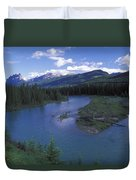 The Bow River And Castle Mountain Duvet Cover