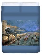 The Bowery At Night Duvet Cover
