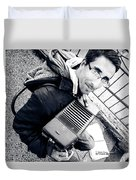The Brave Accordion Player Duvet Cover