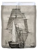 The Brig Hms Beagle From Journal Of Duvet Cover