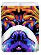 The Bulldog By Nixo Duvet Cover