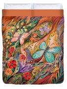 The Butterflies On Wind Duvet Cover