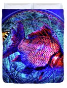 The Butterfly And The Fish Duvet Cover by Joseph Mosley