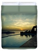 The Caldera View In Santorini Duvet Cover