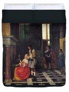 The Card Players Duvet Cover by  Pieter de Hooch