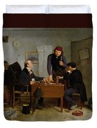 The Card Players Duvet Cover by  Richard Caton Woodville