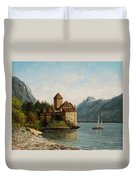 The Castle Of Chillon Evening Duvet Cover by Gustave Courbet