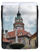 The Cesky Krumlov Castle Tower With A Fountain Below Within The Czech Republic Duvet Cover