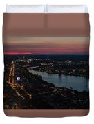 The Charles River Runs Through Boston At Sunset Boston, Ma Duvet Cover