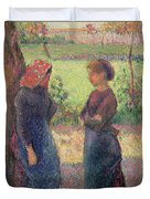The Chat Duvet Cover by Camille Pissarro