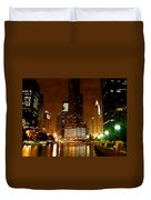 The Chicago River At Night Duvet Cover