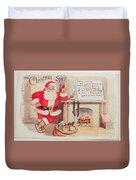 The Christmas Spirit Vintage Card Santa Next To Fireplace Duvet Cover