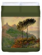 The Church At Varengeville Against The Sunlight Duvet Cover by Claude Monet