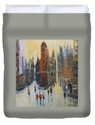 The City At Sunset Duvet Cover