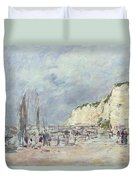 The Cliffs At Dieppe And The Petit Paris Duvet Cover by Eugene Louis Boudin