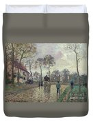 The Coach To Louveciennes Duvet Cover by Camille Pissarro