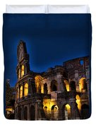 The Coleseum In Rome At Night Duvet Cover by David Smith