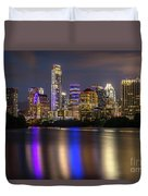 The Colorful Neon Lights On The Austin Skyline Shine Bright Duvet Cover
