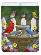 The Colors Of Spring - Bird Fountain In Flower Garden Duvet Cover