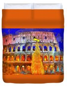 The Colosseum And Christmas  - Van Gogh Style -  - Da Duvet Cover