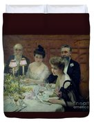 The Corner Of The Table Duvet Cover by Paul Chabas
