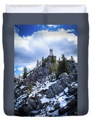 The Cosmic Ray Station Atop Sulphur Mountain, Banff, Canada Duvet Cover