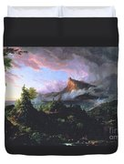 The Course Of Empire - The Savage State Duvet Cover by Thomas Cole