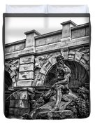 The Court Of Neptune Fountain In Black And White Duvet Cover
