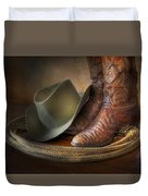 The Cowboy Boots, Hat And Lasso Duvet Cover