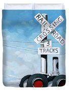 The Crossing - Train Signals Duvet Cover