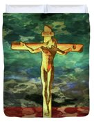 The Crucific Pop Art By Mary Bassett Duvet Cover