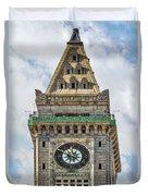 The Customs House Clock Tower Boston Duvet Cover