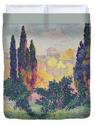 The Cypresses At Cagnes Duvet Cover by Henri-Edmond Cross