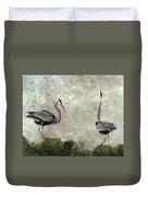 The Dance Of Life - Great Blue Herons In Mating Ritual - Digital Painting Duvet Cover