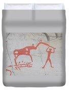 The Deer And Female Hunter Duvet Cover