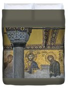 The Deesis Mosaic With Christ As Ruler At Hagia Sophia Duvet Cover
