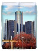 The Detroit Renaissance Center Duvet Cover by Gordon Dean II