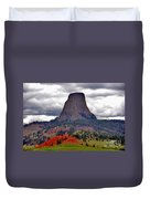 The Devils Tower Wy Duvet Cover by Susanne Van Hulst