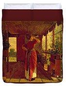The Dinner Horn Duvet Cover by Winslow Homer
