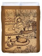 The Doll, The Kitties And The Gingerbread Boy Duvet Cover