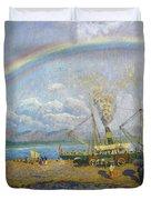 The Downpour. Santona Bay By Dario De Regoyos, 1900. Duvet Cover
