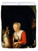 The Dutch Housewife Or The Woman Hanging A Cockerel In The Window 1650 Duvet Cover