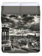The Edinburgh Skyline, And Dugald Stewart Monument. Duvet Cover