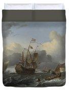 The Eendracht And A Fleet Of Dutch Men Of War Duvet Cover