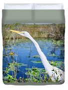 The Egret And The Dragonfly Duvet Cover