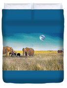 The Elephant Herd Duvet Cover