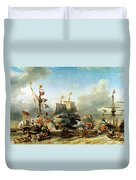 The Embarkation Of Ruyter And William De Witt In 1667 Duvet Cover