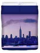 The Empire State Building In New York At 6 A. M. In January Duvet Cover