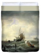 The Entrance To The Harbour At Hellevoetsluys Duvet Cover